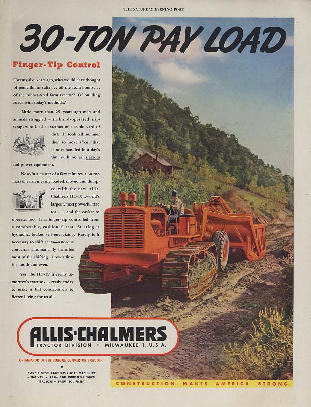 30-ton pay load Allis-Chalmers HD-19 Crawler Tractor ad 1948 P