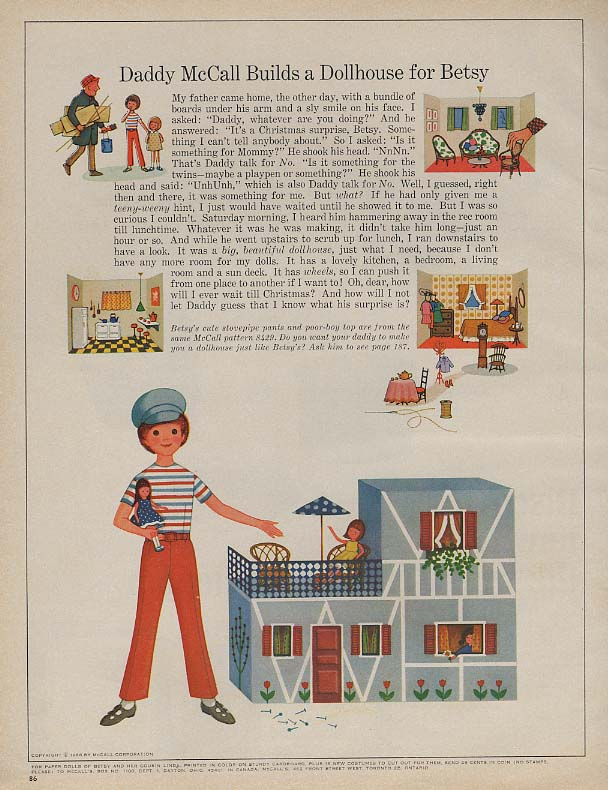 Daddy McCall Builds a Dollhouse for Betsy paper doll page 1966 McC