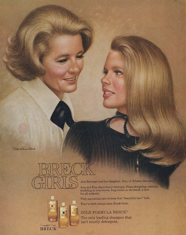 Ann Basinger & daughter Kim of Athens Georgia for Breck Shampoo ad 1971