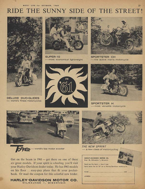 Image for Ride the Sunny Side of the Street Harley-Davidson Motorcycle ad 1961