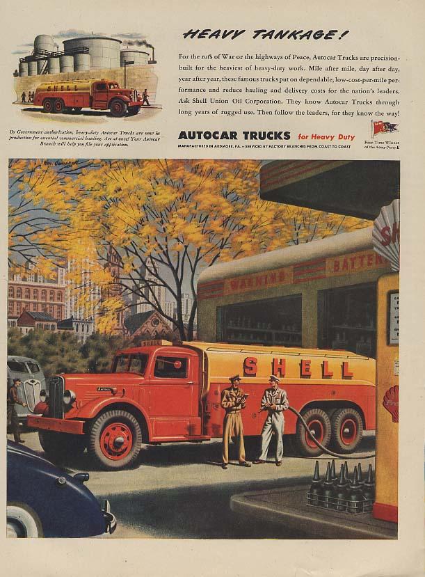 Heavy Tankage! Autocar Shell Gasoline Truck ad 1945 L