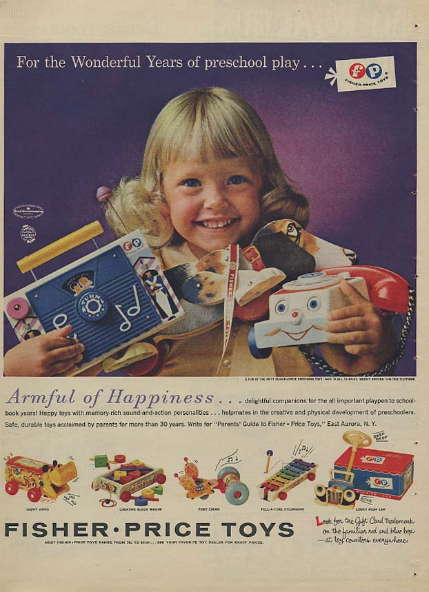 Armful of Happiness - Fisher-Price Toys ad 1962 LAT
