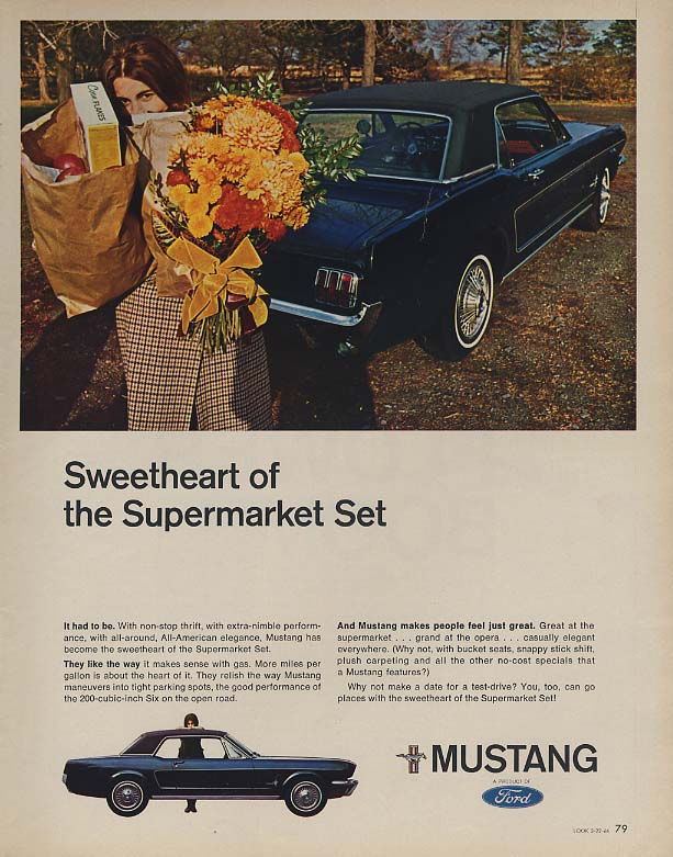 Image for Sweetheart of the Supermarket Set - Ford Mustang ad 1966 LK