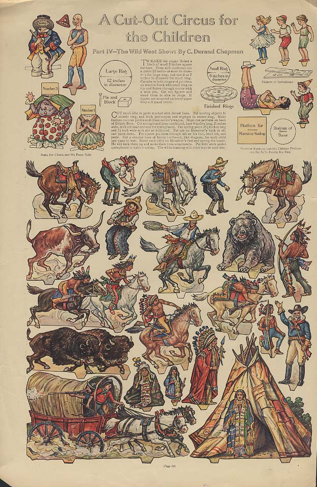A Cut-Out Buffalo Bill Wild West Show Circus for Children page ca 1915 paper dol