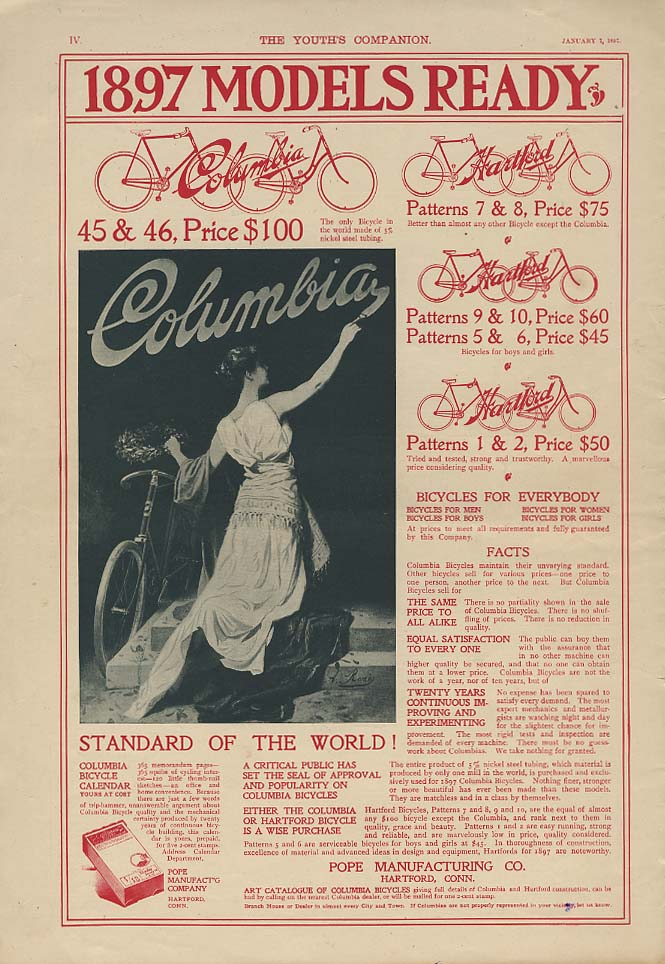 Standard of the World! 1897 Columbia Bicycles - Models Ready ad 1897