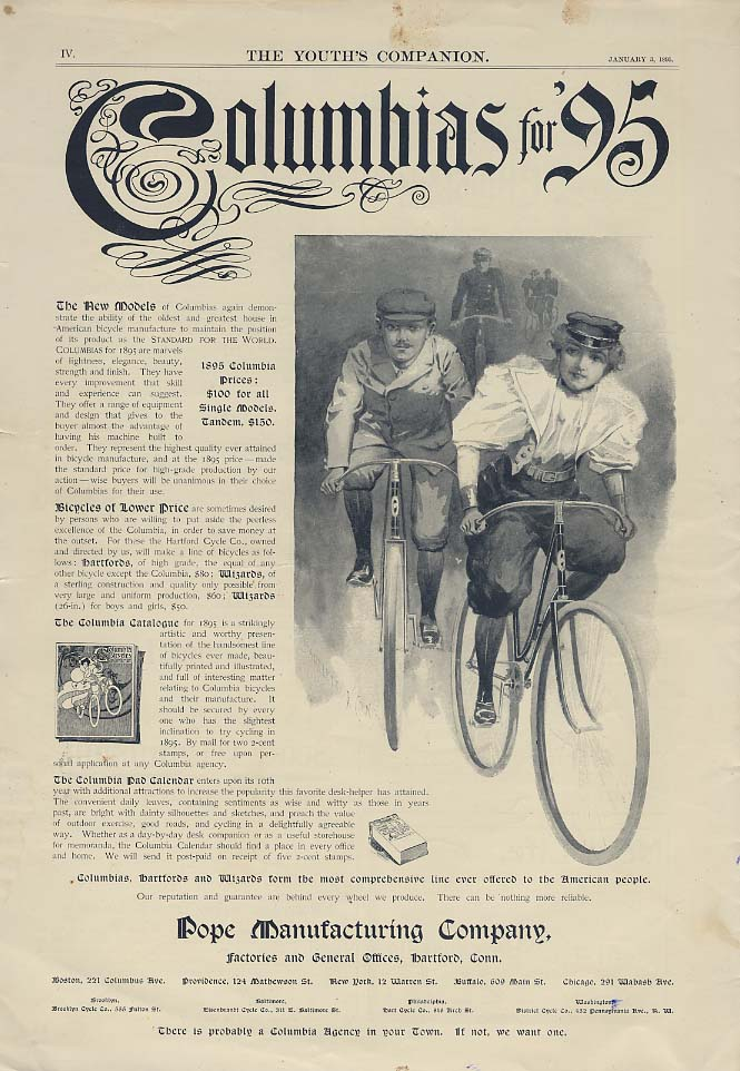 The new models demonstrate the ability Columbia Bicycles ad 1895