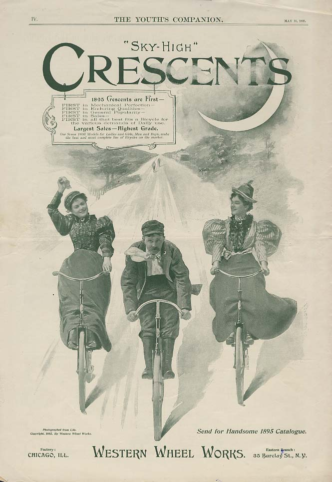 Sky-High Cerscent Bicycles are First ad 1895 Western Wheel Works