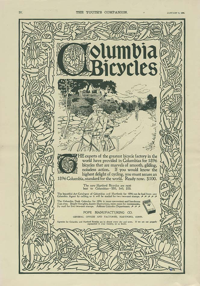 Image for The experts of the greatest factory have provided Columbia Bicycles ad 1896