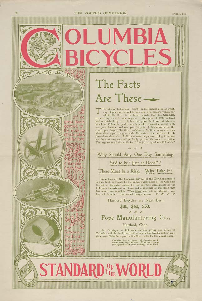 The Facts Are These - Columbia Bicycles ad 1896