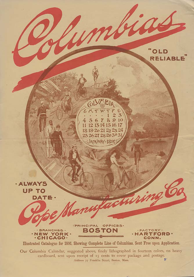 Always Up To Date - Columbia Bicycles by Pope Manufacturing ad 1891