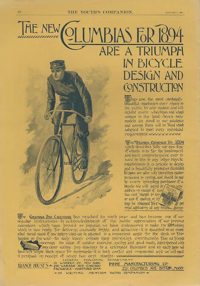 A Triumph in Design & Construction - Columbia Bicycles ad 1894