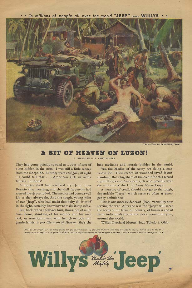 A Bit of Heaven in Luzon! Willys Jeep US Army Nurses Tribute ad 1945 AW