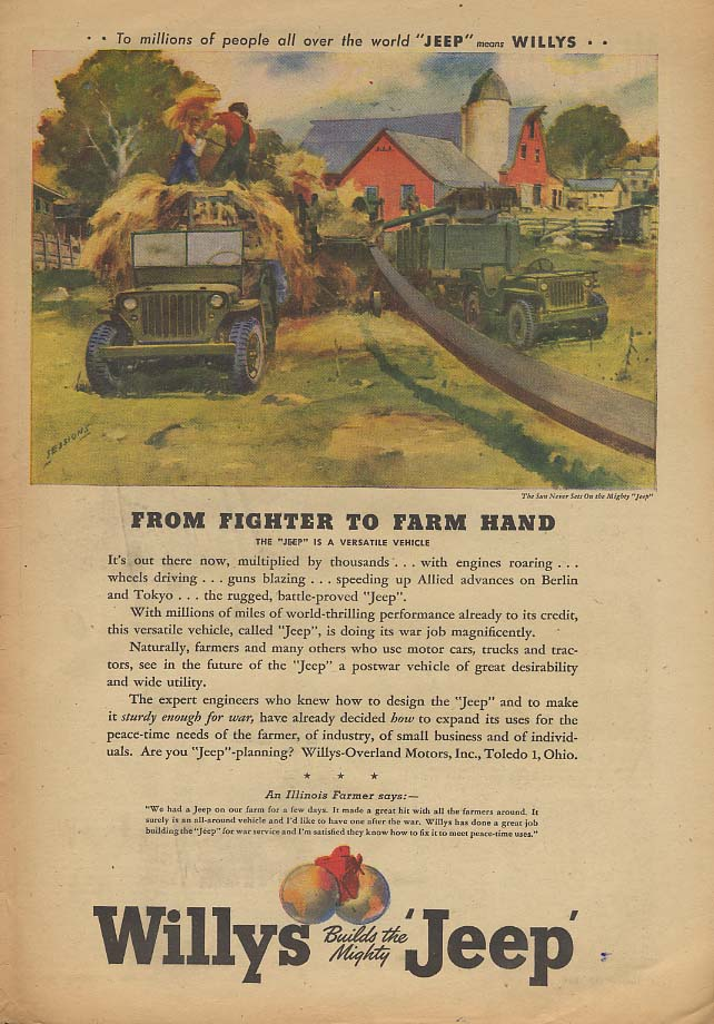 Image for From Fighter to Farm Hand - Willys Jeep ad 1945 AW