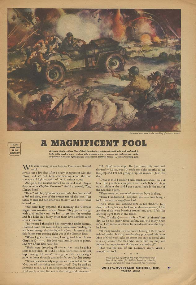 A Magnificent Fool - Chaplain on Tunisia - Willys Jeep ad 1944 Aw