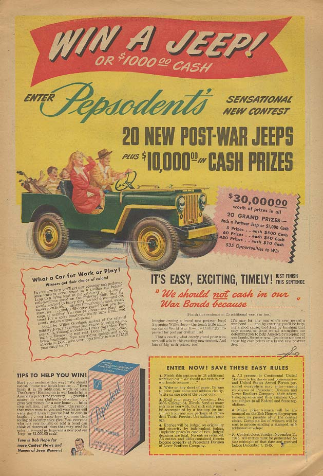 Image for Win a Willys Jeep! Pepsodent Toothpaste Contest ad 1945 AW