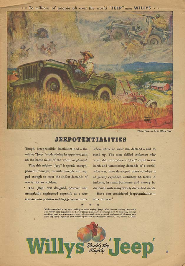 Image for Jeepotentialities -Willys Jeep for the Farm ad 1945 AW