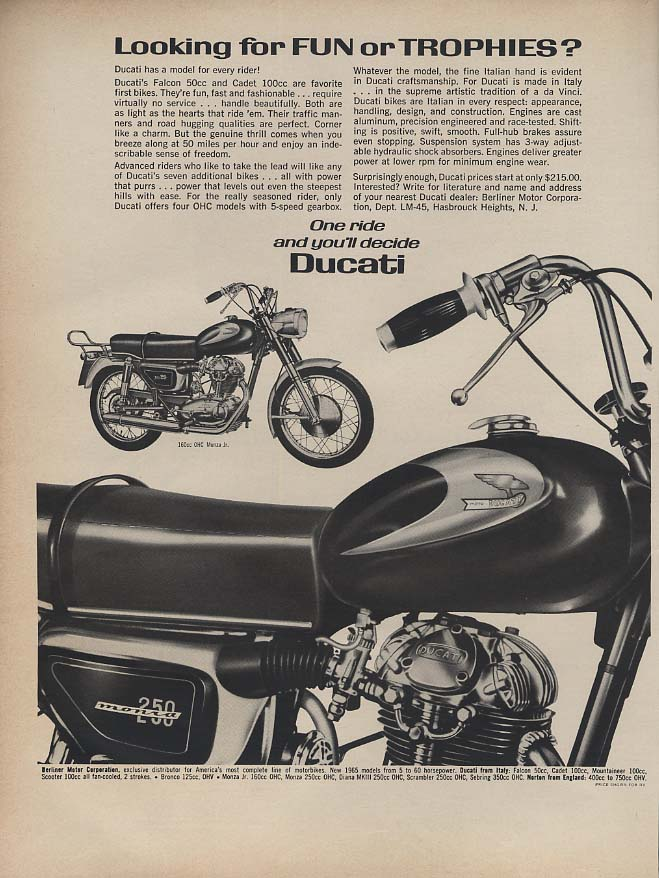 Image for Looking for Fun or Trophies? Ride a Ducati Monza 250 Motorcycle ad 1965 L