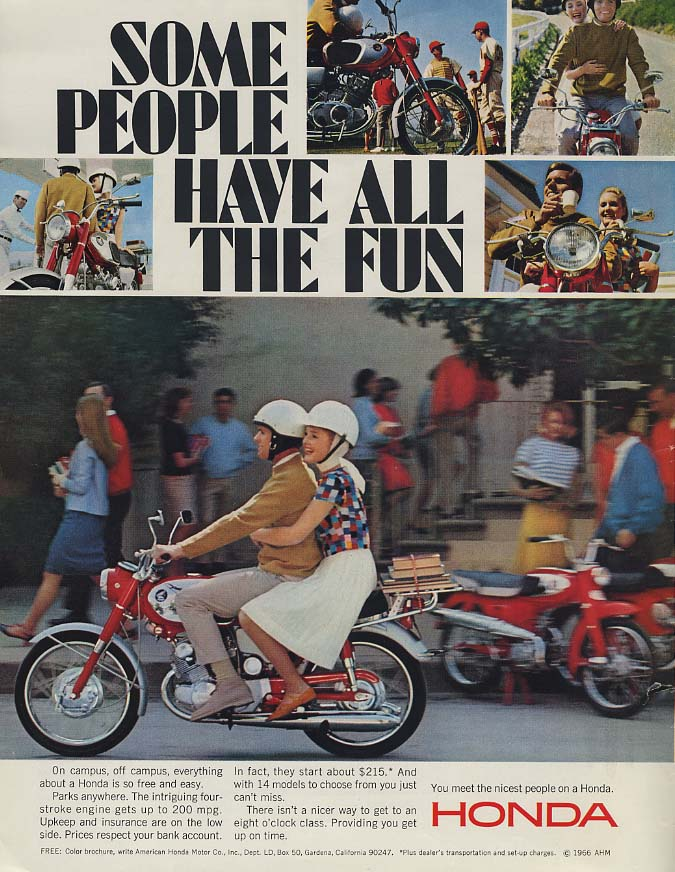 Image for Some People Have All the Fun - Honda 50 Motorcycle ad 1966 L
