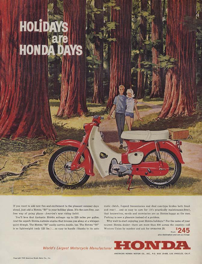 Image for Holidays are Honda Days - Honda 50 Motorcycle ad 1963 L