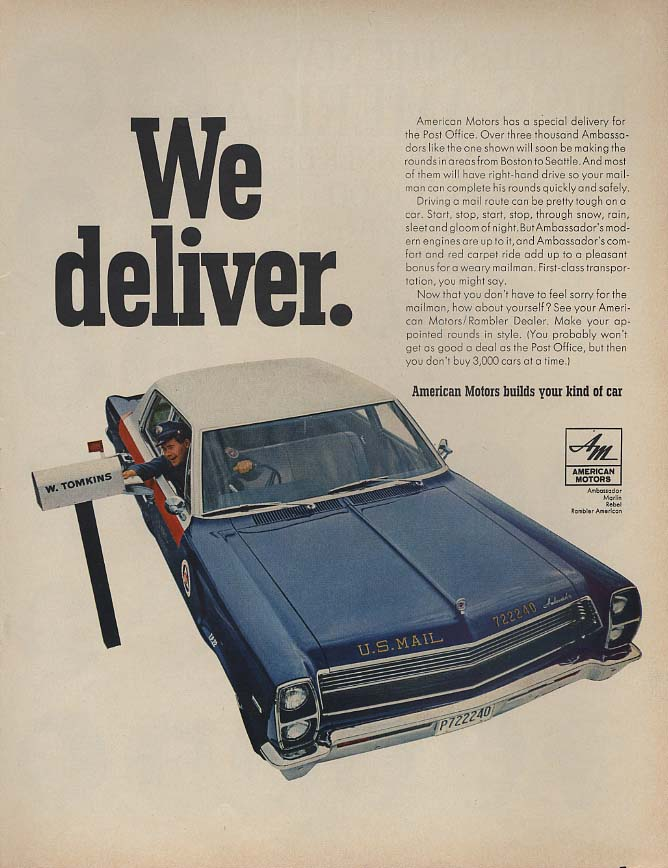 We deliver - American Motors AMC Ambassador US Mail Delivery Cars ad 1967 L