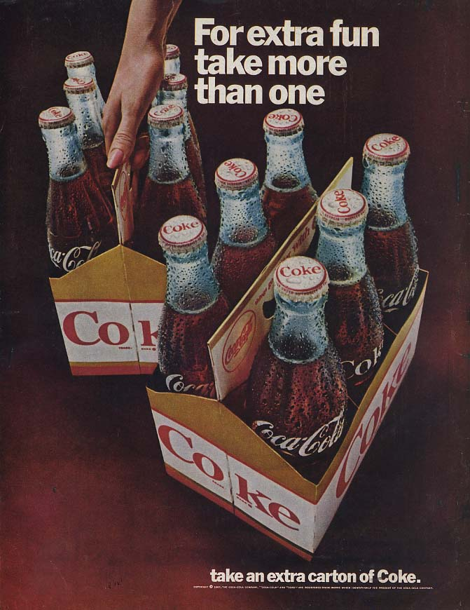 For extra fun take more than one Coca-Cola Six-Packs ad 1967 L