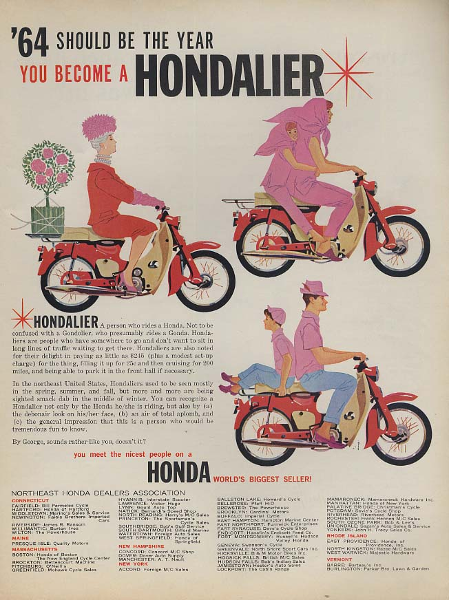 1964 should be the year you become a Hondalier - Honda Motorcycle ad L