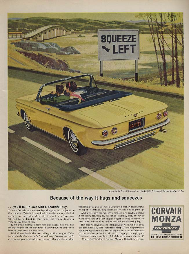 Because of the way it hugs & squeezes Corvair Monza Convertible ad 1964 L