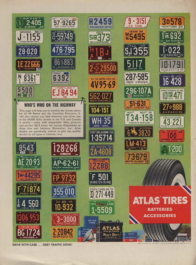 Image for Whos Who on the Highway Atlas Tires & Batteries license plate ad 1955 L