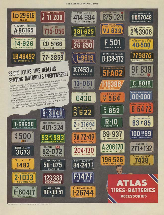 38,000 Atlas Tire dealers serving everywhere ad 1951 license plates SEP
