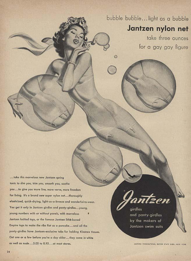Bubble Bubble light as a Bubble Jantzen Girdle ad 1949 Pete Hawley pin-up L