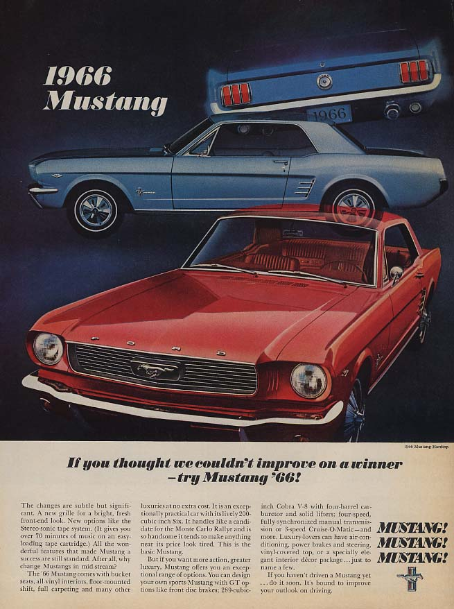 If you though we couldn't improve try a Fzord Mustang ad 1966 L