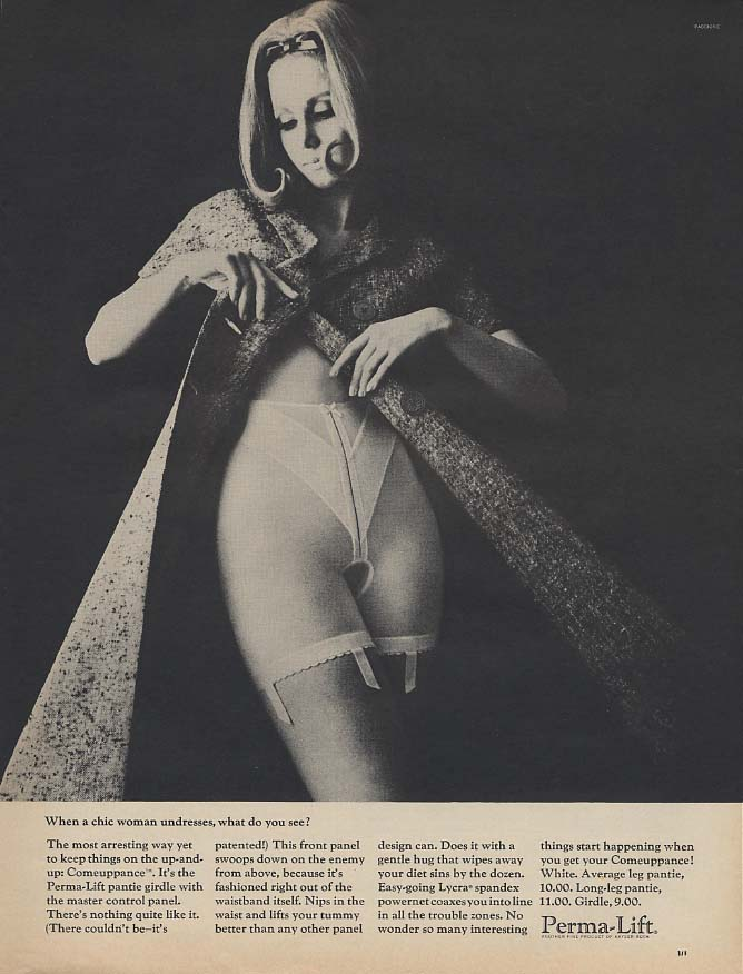 When a chic woman undresses what do you see? Perma-Lift girdle ad 1965 L
