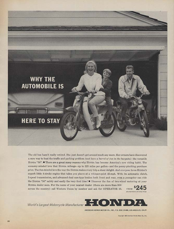 Image for Why is the automobile is here to say - Honda 50 motorcycle ad 1963 L