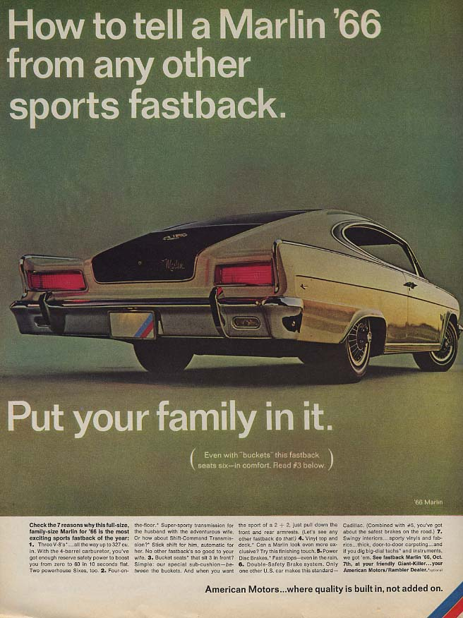 How to tell an AMC Marlin from any other sports fastback ad 1966 L