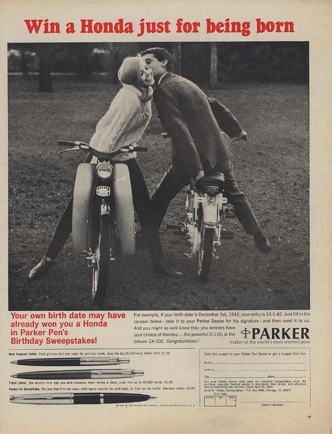 Image for Win a Honda just for being born Parker Pen ad  1965 C-110 CA-102 L