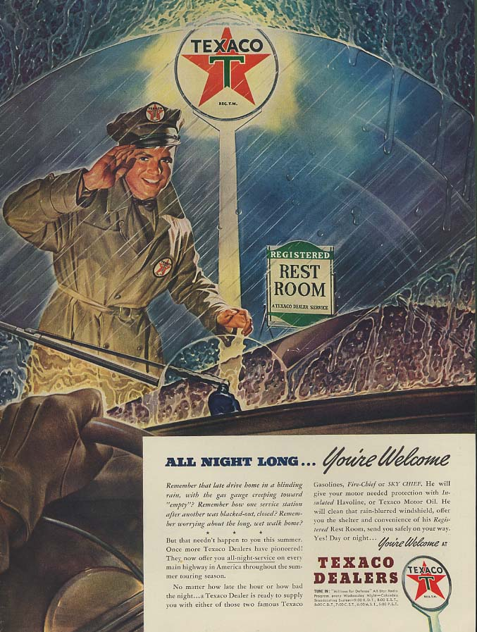 All Night Long - You're Welcome - Texaco Gasoline Stations ad 1941 L