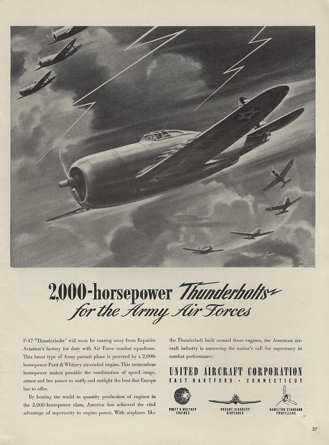 2000-horsepower Republic P-47 Thunderbolt for USAAF United Aircraft ad 1941 L