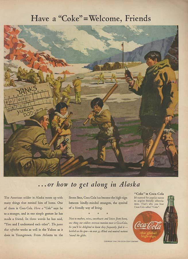 Have a Coca-Cola = Welcome, Friends in Alaska Coca-Cola ad 1943 baseball L
