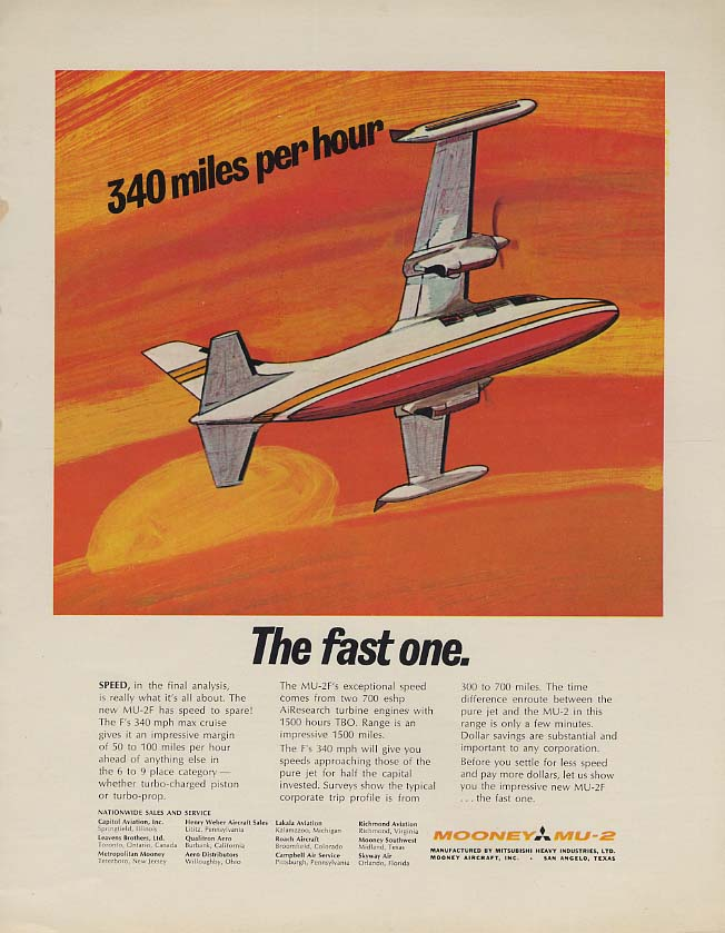 340 miles per hour - the fast one Mooney MU-2 business airplane ad 1968 F