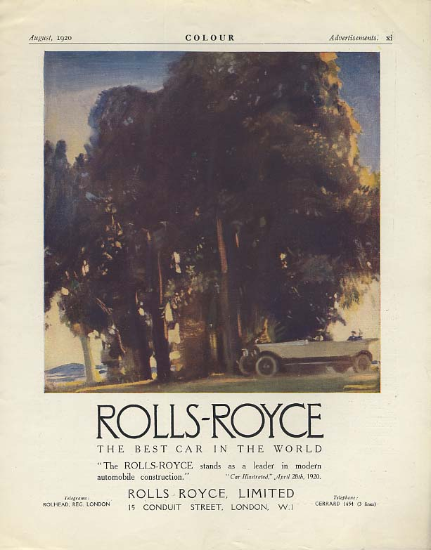 A leader in modern automobile construction Rolls-Royce Touring ad 1920
