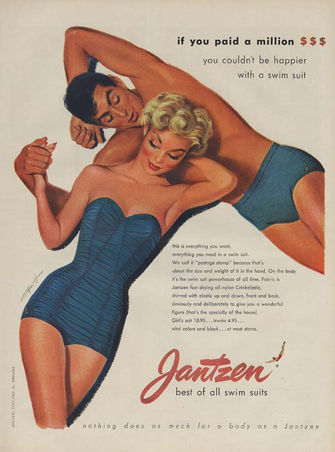 If you paid a million - Jantzen Swimsuit ad 1953 Pete Hawley art L