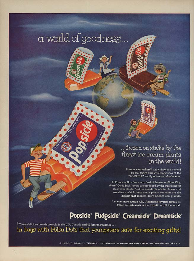 A World of Goodness - Lowe's Popsicle Fudgsicle ad 1952 L