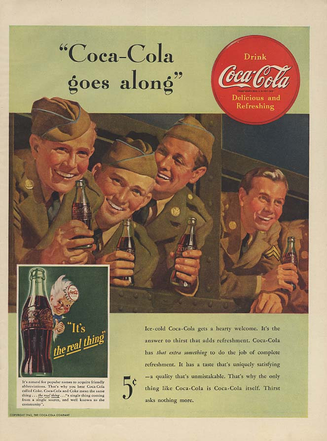 Coca-Cola goes along ad 1942 GIs on troop train L