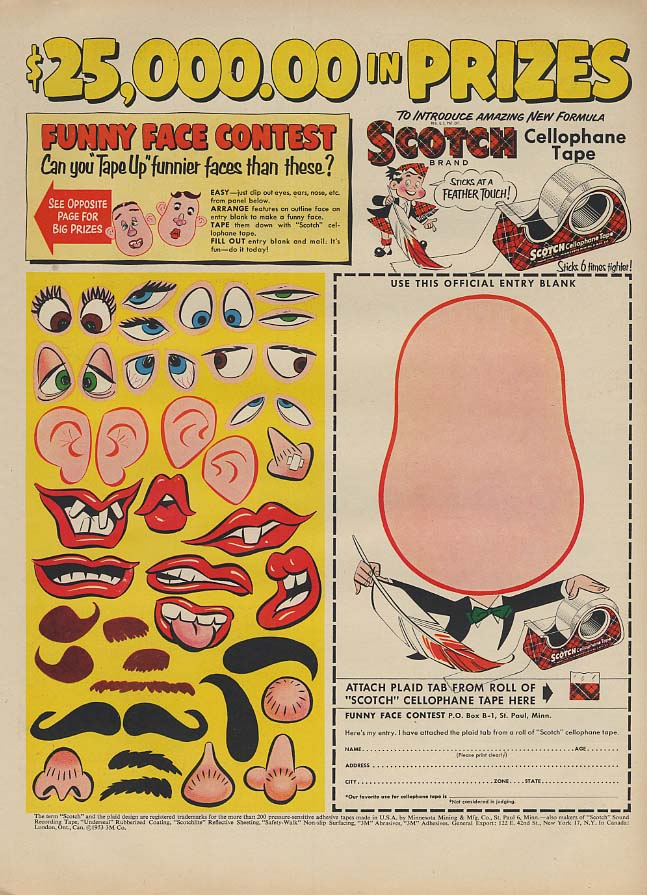 $25000 in prizes Scotch Cellophane Tape Funny Face Contest ad 1953 L