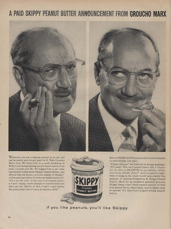 Image for Groucho Marx for Skippy Peanut Butter ad 1960 L