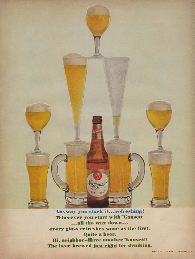 Anyway you stack it - refreshing! Narragansett Lager Beer ad 1960 L