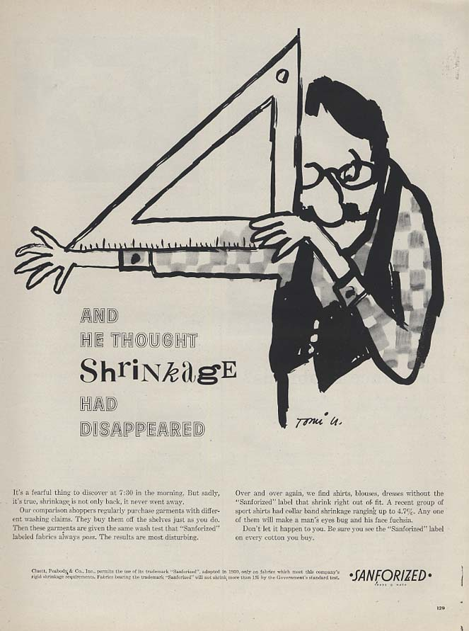 And he though shrinkage had disappeared Sanforized ad 1960 Tomi Ungerer L