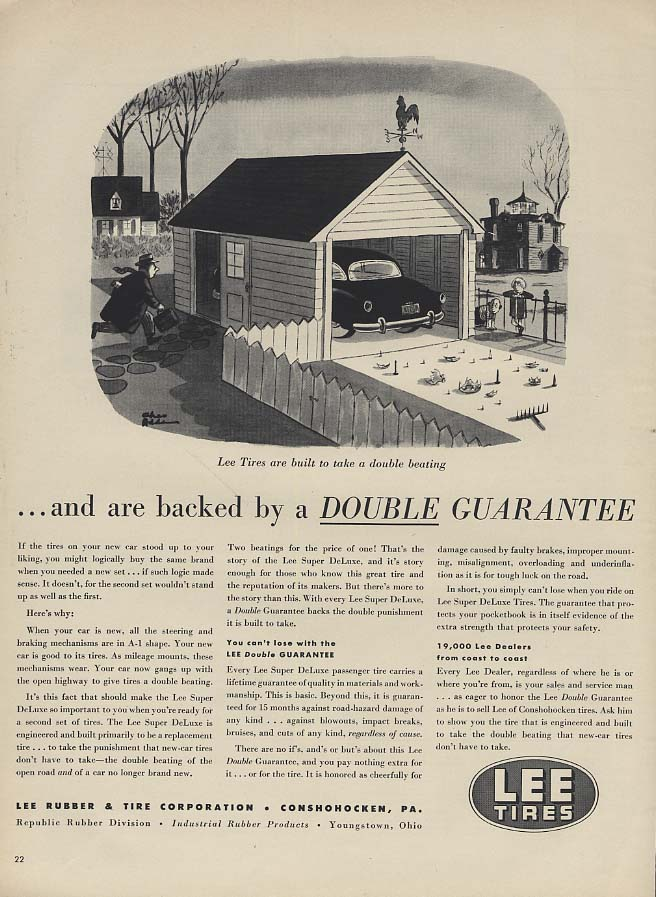 Backed by a Double Guarantee Lee Tires ad 1953 Chas Addams cartoon L