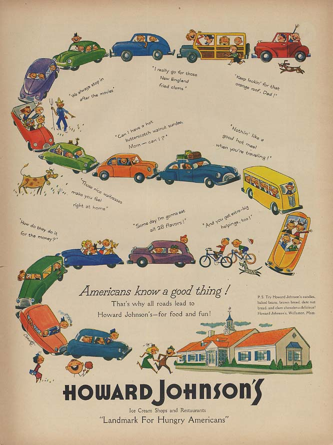 Americans know a good thing! Howard Johnson's Ice Cream Shops ad 1953 L