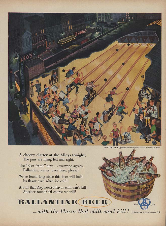 A cheery clatter at the Bowling Alleys - Ballantine Beer ad 1953 Siebel art L